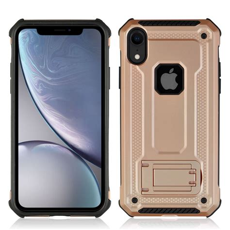 shockproof pc tpu armor protective for iphone xr with holder gold alexnld