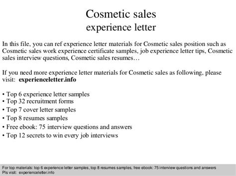 Cosmetic Representative Cover Letter by Cosmetic Sales Experience Letter