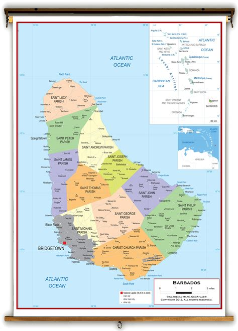 political map of barbados barbados political educational wall map from academia maps
