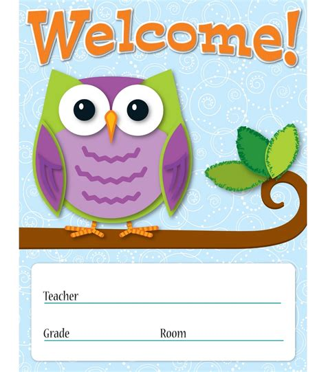 printable owl welcome sign colorful owls welcome chart grade pk 8