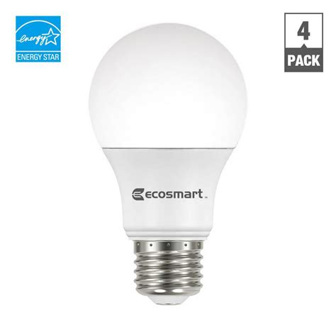 Led Light Bulb For Home Ecosmart 60w Equivalent Soft White A19 Energy And Dimmable Led Light Bulb 4 Pack