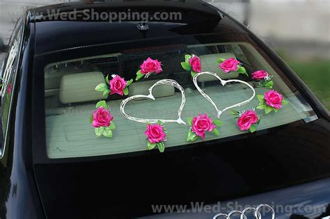 Wedding Car Decoration Kit by Wedding Car Decoration Kit Pink Roses And Rattan Hearts