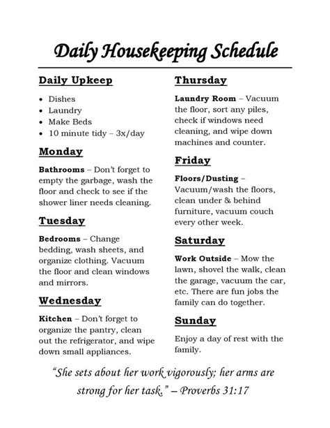 housekeeping schedule chores for each day of the week and daily tasks that are simple and