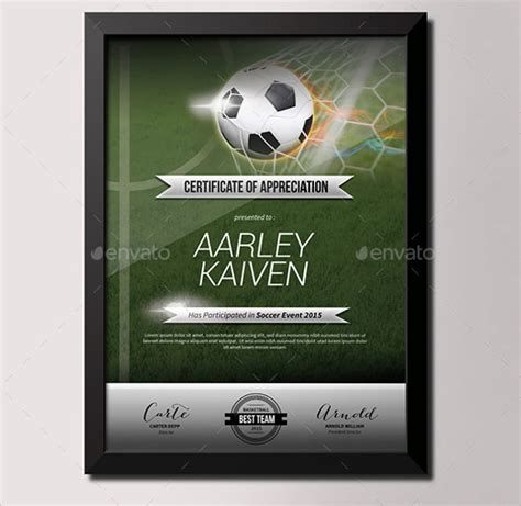 Soccer Certificate Template   14  Download free Documents
