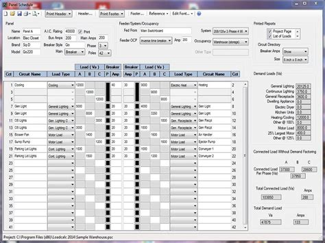 electrical load schedule template loadcalc 2014 panel schedule free loadcalc 2014