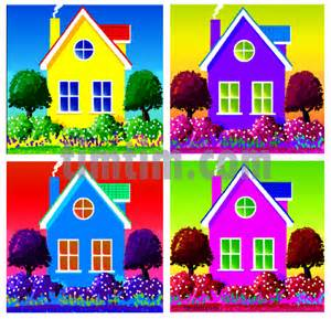 free drawing 4 colored houses category building tools timtim