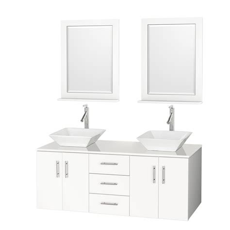Bathroom Vanities Faucets Arrano 55 Quot Bathroom Vanity White With Vessel Sinks Free Shipping Modern Bathroom