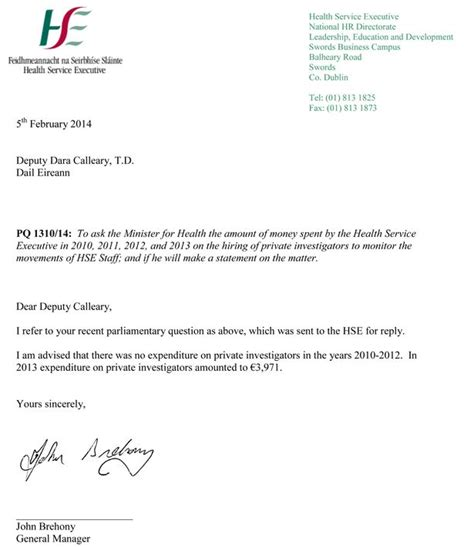 Response Letter To Hse Hse Spends Nearly 4k Investigating Its Own Staff Letter To Ff Deputy Shows Mirror