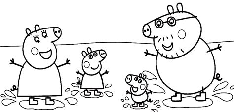 peppa pig muddy puddles coloring pages peppa family muddy puddles coloring page