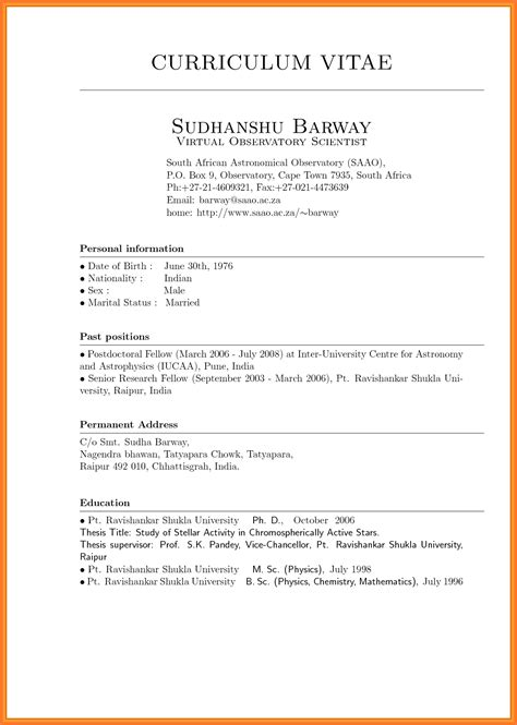 curriculum vitae format template curriculum vitae sle format thesis danaya us