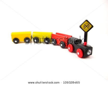 Three Small Trains Wood Toys three wooden trains on track stock photo 109328459