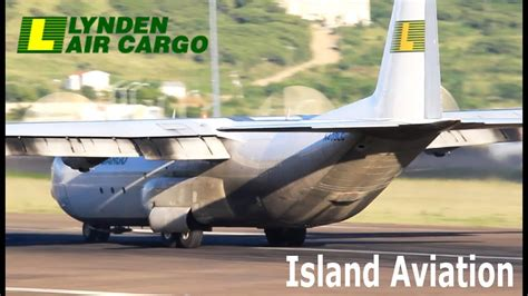 lynden air cargo lockheed l 100 arrival compilation st kitts airport