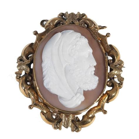 large antique cameo shell gold hercules brooch pendant for