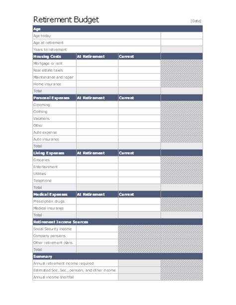 access budget template retirement budget for microsoft personal access