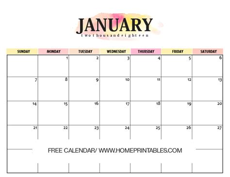 printable planner for january calendar january 2018 10 free amazing prints home