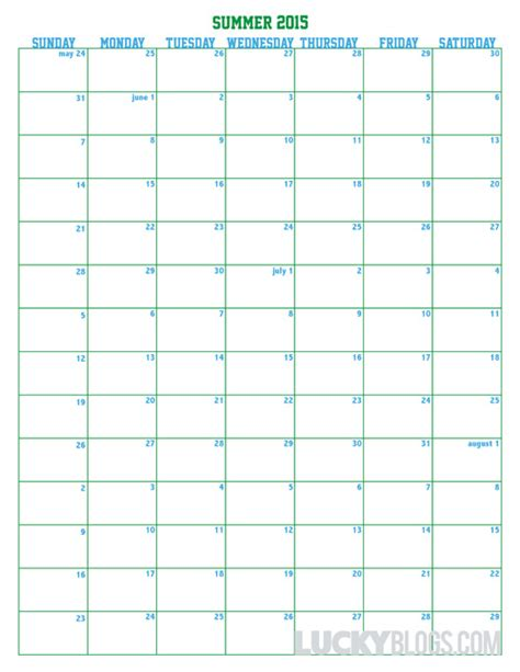 Printable Calendar 2015 Summer | calendar for summer 2015 printable for free