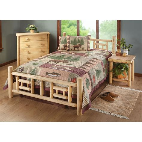 cedar log bed castlecreek twin deluxe cedar log bed 235872 bedroom