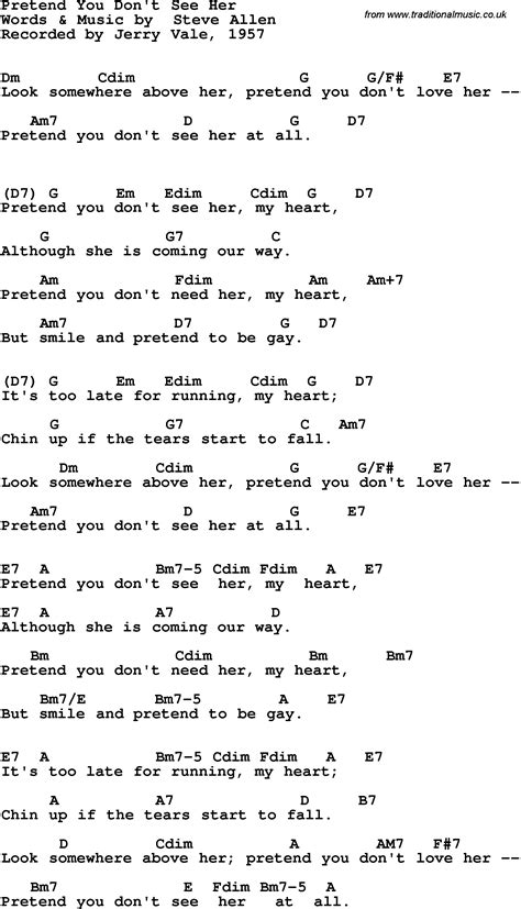 Song lyrics with guitar chords for Pretend You Don't See
