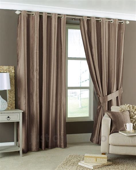 curtains brown aria coffee brown eyelet lined cheap striped curtain