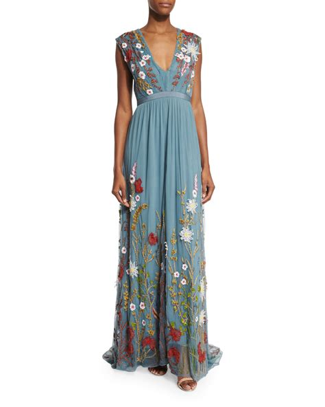Embroidered Maxi Dress lyst merrill floral embroidered