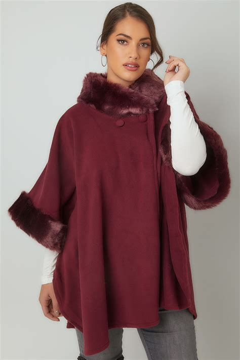 Can You Do A Return On A Visa Gift Card - burgundy fleece wrap with faux fur trims plus size 16 to 32