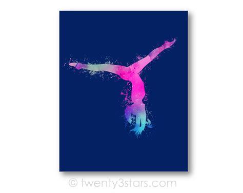 printable gymnastics art watercolor gymnast canvas or art print girl s room art