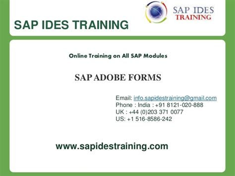 tutorial sap adobe forms sap adobe forms online training course content sap ides