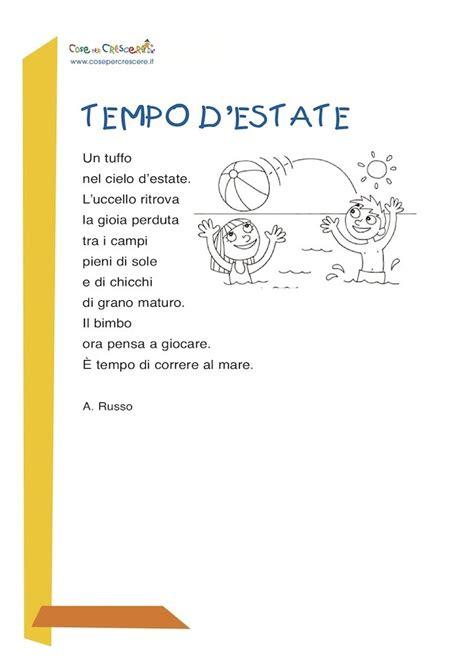 testo d estate tempo d estate poesia per bambini