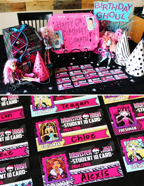 printable monster high student id cards ghoulish glam monster high birthday party hostess