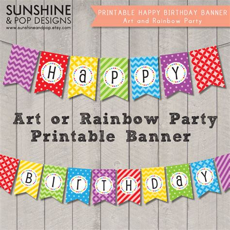 free printable rainbow happy birthday banner instant download art party rainbow happy by sunshineandpop