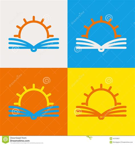 school logo design template vector logo design template abstract line sun and open