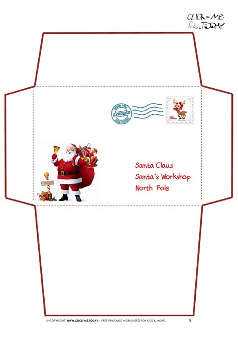 printable letter to santa claus envelope template santa