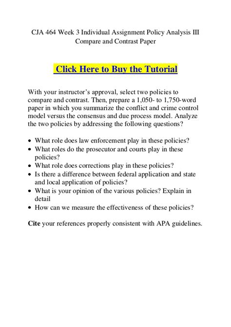 writing a policy paper cja 464 week 3 individual assignment policy analysis iii