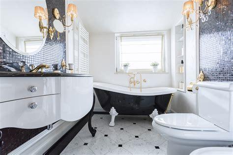 bathroom design cabinet whirlpool clawfoot best designs black bathrooms with glittering chandeliers