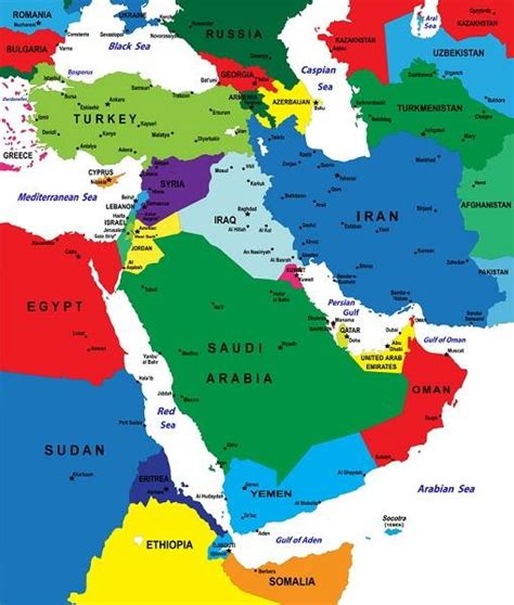mideast map countries uae iran map
