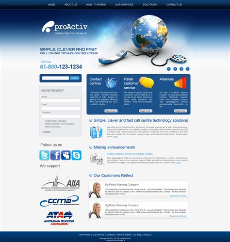 web design centered layout effective strategies for an optimized call center website