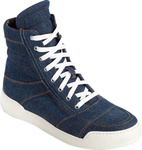 balmain mens sneakers balmain perforated denim hightop sneakers in blue for