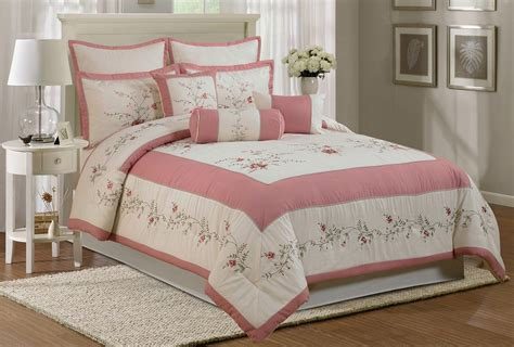 pink comforter king save 7 chezmoi collection 7 piece embroidery rose