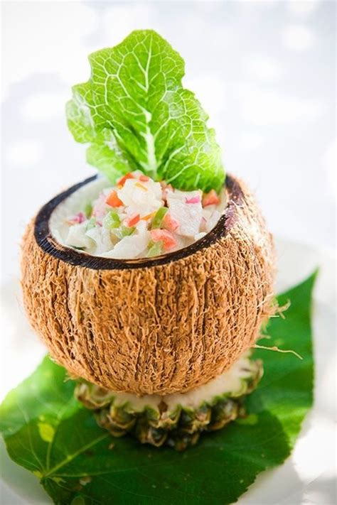 coconut in food ota ika served in a coconut shell polynesian food tongan food more