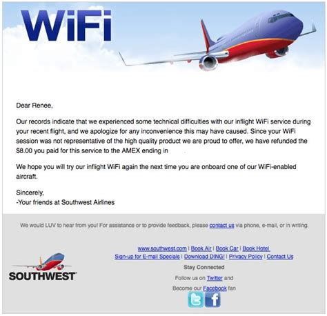 american airlines free wifi southwest airlines a service recovery surprise