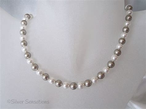 Handmade Silver Necklaces Uk - platinum colour white swarovski pearls handmade sterling