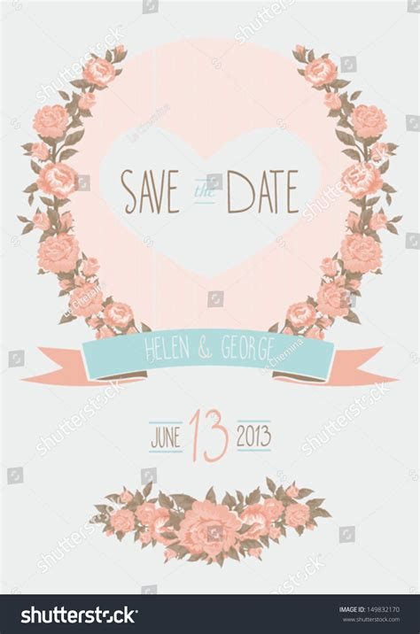 shabby chic gift card template save date wedding invitation shabby chic stock vector