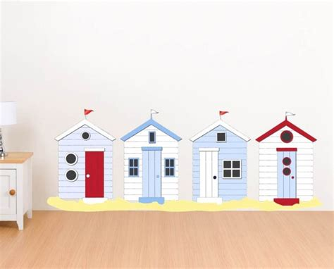 seaside wall stickers huts on sand