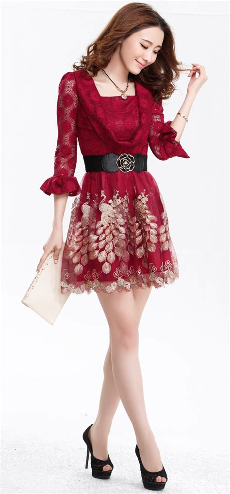 Lace Sleeve Hollow Dress With Belt womanly princess sleeve peacock printing dress lace hollow out waist dress with belt