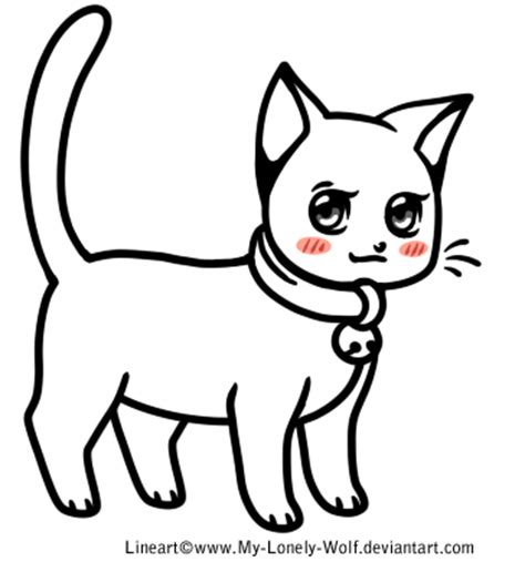 free chibi cat lineart png and paint now by roneri on deviantart