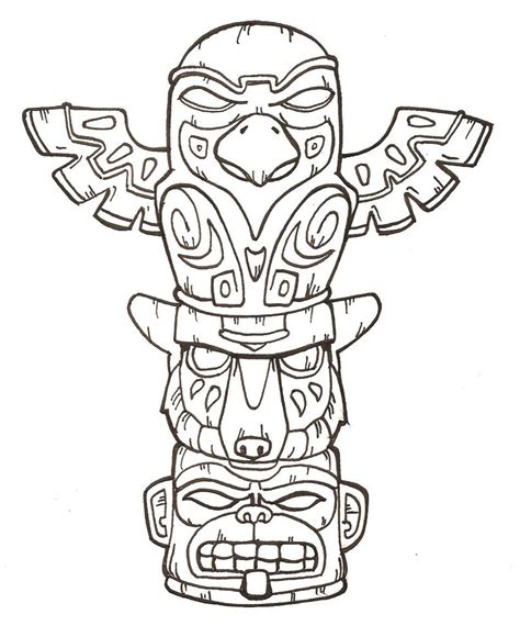 totem tattoo designs free printable totem pole coloring pages for