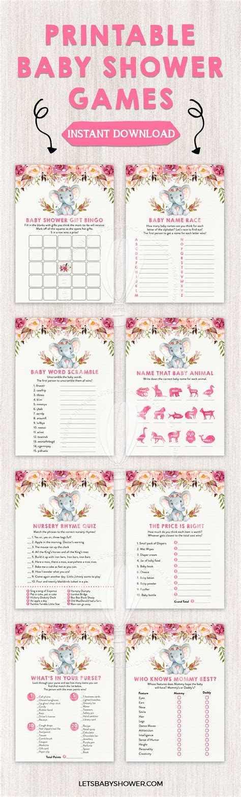 Baby Shower Gams by Elephant Baby Shower For Baby Shower Printables
