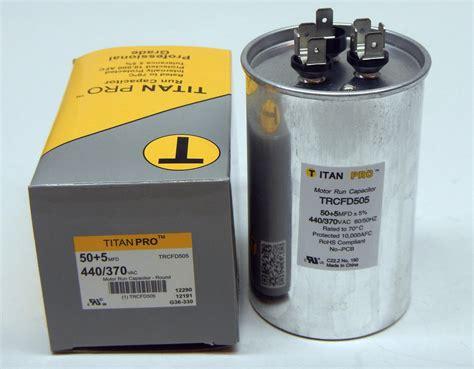 motor run capacitor furnace titanpro trcfd505 hvac dual motor run capacitor 50 5 mfd uf440 370 volts ebay