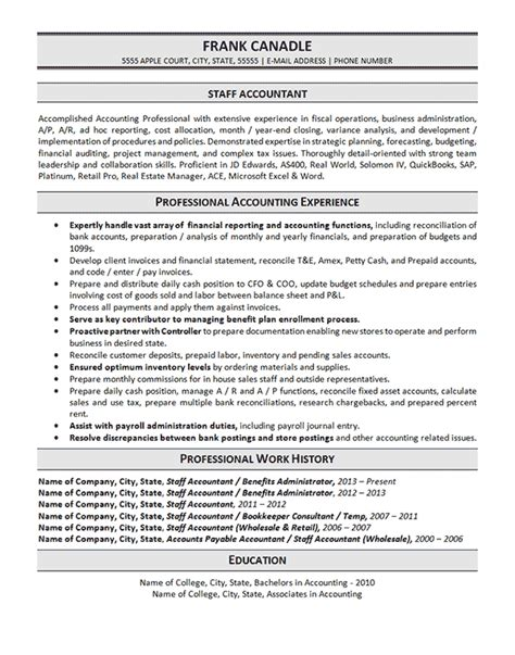 Resume Exles For Staff Accountants Staff Accountant Resume Exle