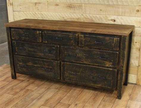 Distressed Bedroom Dressers Reclaimed 7 Drawer Dresser Black Distressed Base